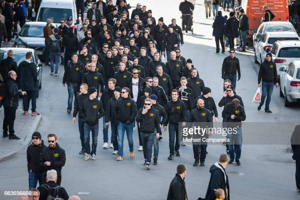 AIK supporters arriving ahead of the Allsvenskan match between AIK and BK Hacken at Friends arena on April 2 2017 in Solna Sweden
