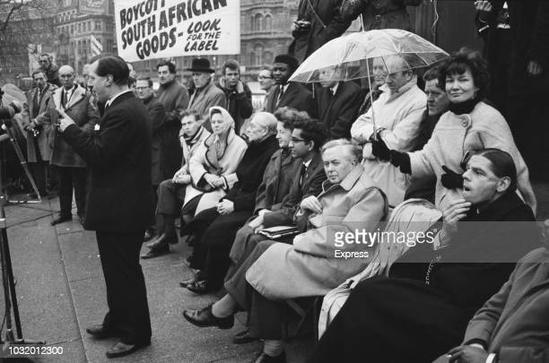 Supporters at an Anti-apartheid rally in Trafalgar Square, London, UK, 19th March 1963.