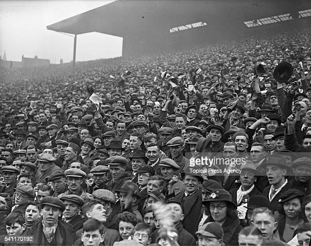 Supporters at Molineux for the Fourth Round FA Cup tie between Wolverhampton Wanderers and Arsenal 22nd January 1938 Arsenal won the match 21