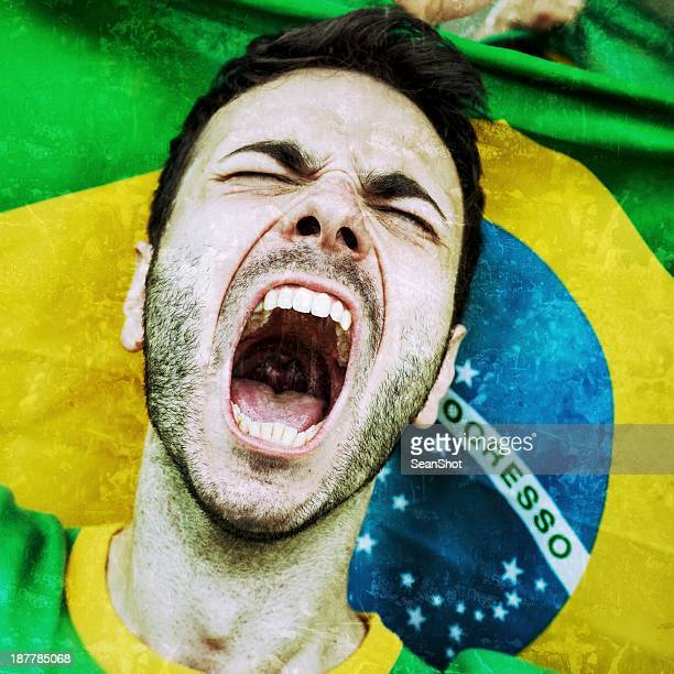 Supporters at Stadium. Furious Brazilian Fan