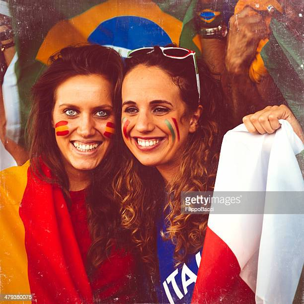supporters at stadium - spain italy stock pictures, royalty-free photos & images