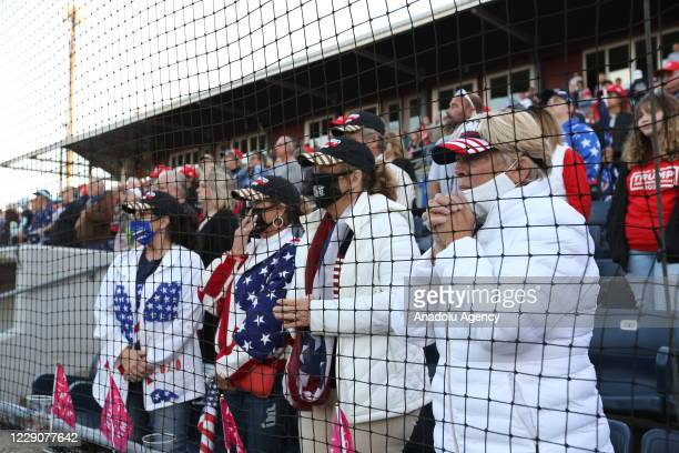 Supporters attend a campaign rally for U.S. President Donald Trump at Skylands Stadium on October 14, 2020 in Augusta, New Jersey.