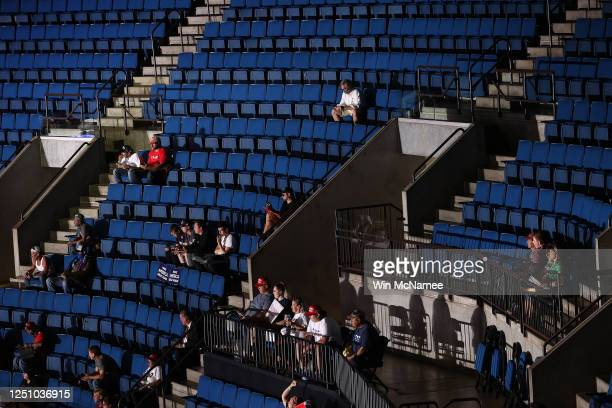 Supporters attend a campaign rally for U.S. President Donald Trump at the BOK Center, June 20, 2020 in Tulsa, Oklahoma. Trump is holding his first...