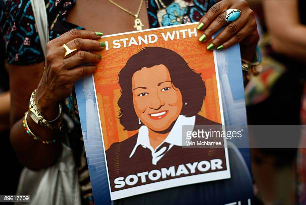Supporters attend a rally endorsing the confirmation of Judge Sonia Sotomayor to the Supreme Court near the US Capitol August 5 2009 in Washington DC...