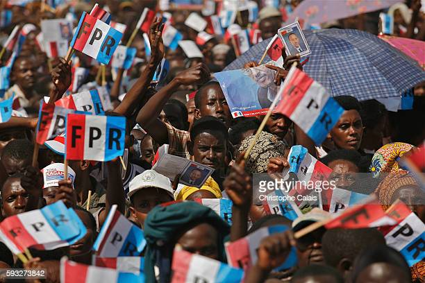 Supporters attend a Rwandan Patriotic Front political rally in Kayonza Eastern Province for the reelection of the Pesident Paul Kagame Rwanda will...