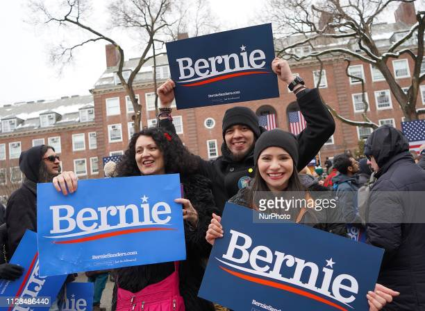 Supporters attend Senator Bernie Sanders launched his 2020 presidential campaign at his alma mater Brooklyn College in his hometown Brooklyn New York...