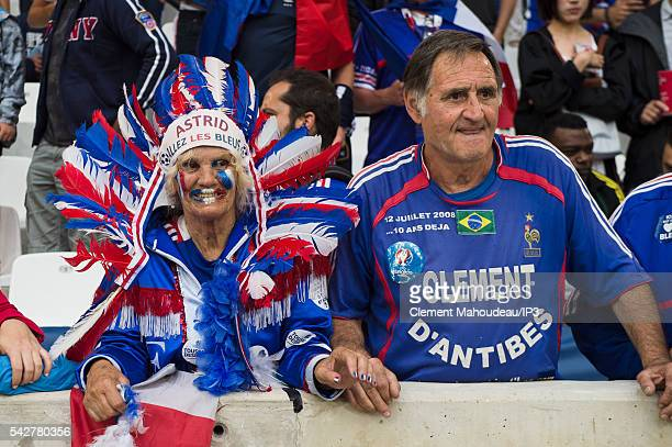 Supporters attend the Euro 2016 group A football match between France and Albania at Stade Velodrome on June 15 2016 in Marseille France France won...