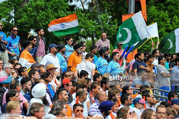 Supporters attend the Group A field hockey match between Pakistan and India during the men's group stage of the World League semifinal in Brasschaat...