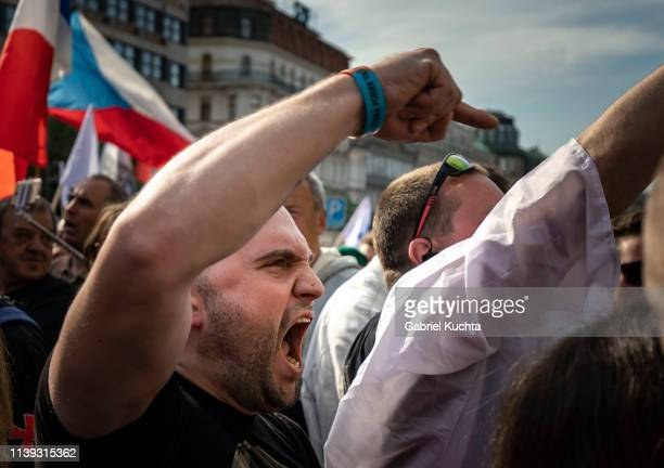 Supporters attend the meeting of populist farright party leaders in Wenceslas Square on April 25 2019 in Prague Czech Republic The Czech Freedom and...