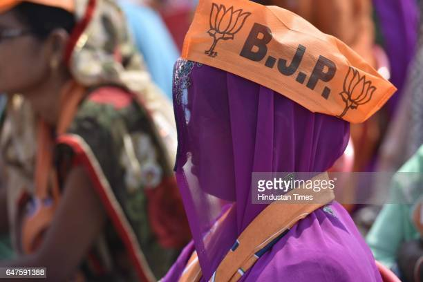 BJP supporters attend the rally of Prime Minister Narendra Modi on March 3 2017 in Mirzapur India A recordbreaking crowd poured in to hear Prime...