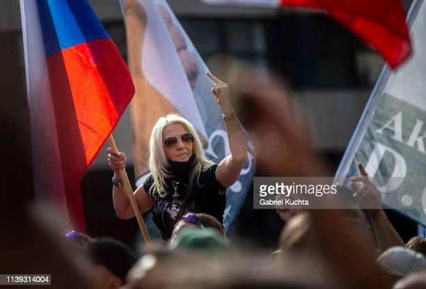 Supporters attends the meeting of populist farright party leaders in Wenceslas Square on April 25 2019 in Prague Czech Republic The Czech Freedom and...