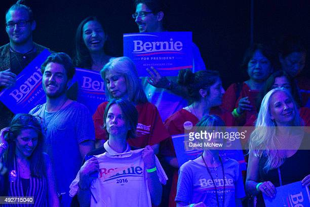 Supporters await the arrival of Democratic presidential candidate Sen. Bernie Sanders to the stage at a campaign fundraising reception at the Avalon...