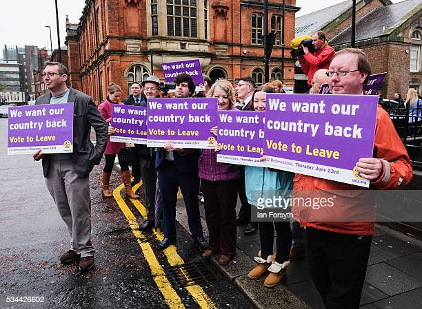 Supporters await the arrival of the leader of the United Kingdom Independence Party Nigel Farage as he arrived in his battle bus to campaign for...