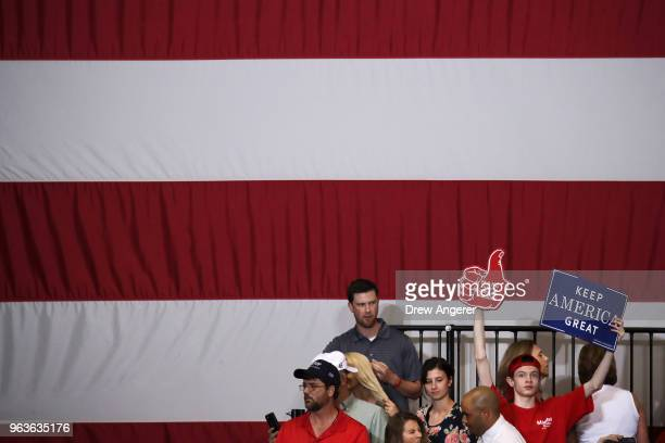 Supporters await the arrival of US President Donald Trump during a rally at the Nashville Municipal Auditorium May 29 2018 in Nashville Tennessee...