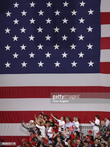 Supporters await the arrival of U.S. President Donald Trump during a rally at the Nashville Municipal Auditorium, May 29, 2018 in Nashville,...