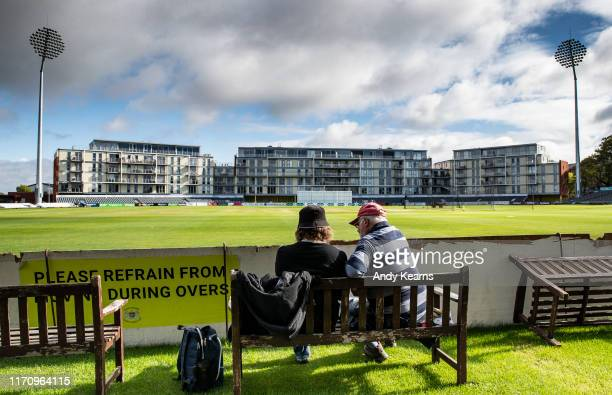 Supporters awaiting the start of play during the Specsavers County Championship Division Two match between Gloucestershire and Northamptonshire at...