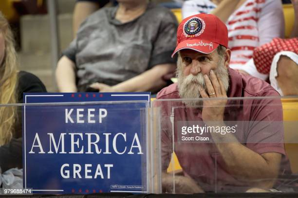 Supporters begin arriving for a campaign rally with President Donald Trump at the Amsoil Arena on June 20 2018 in Duluth Minnesota Earlier today...