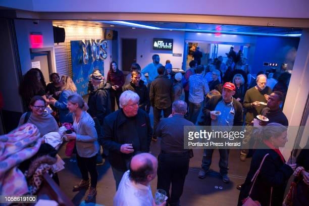 Supporters begin to file in at the Maine Democrats election night party for gubernatorial candidate Janet Mills and Rep Chellie Pingree at Aura in...