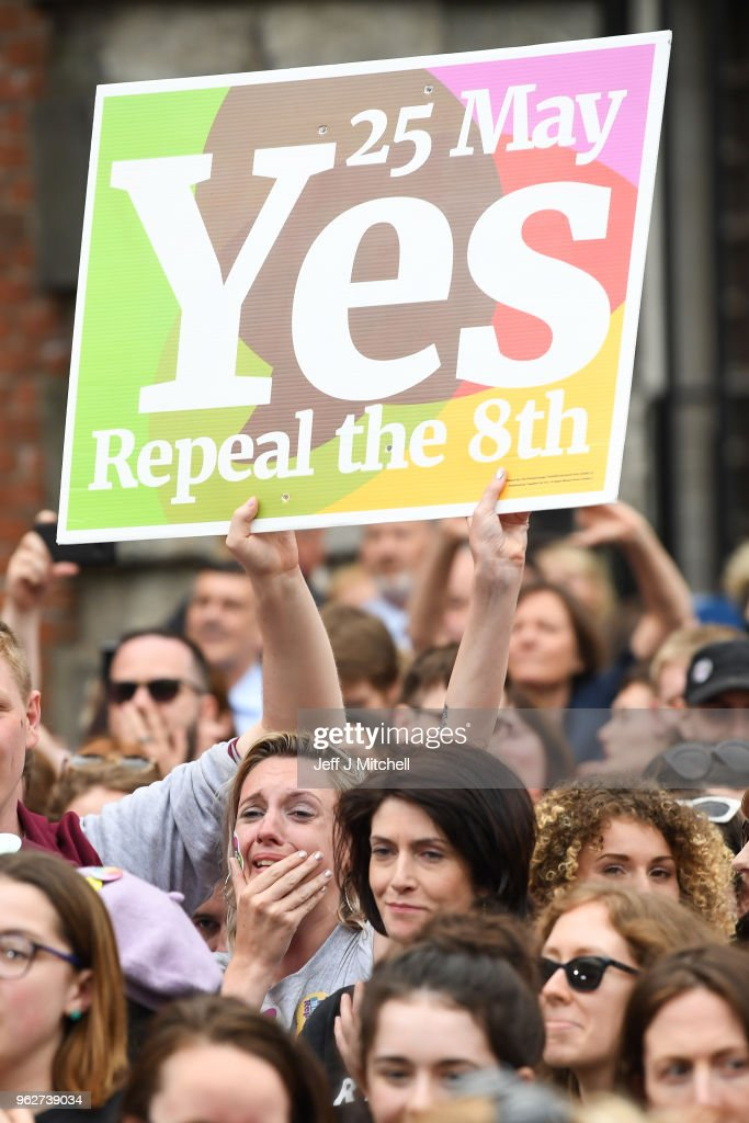 Supporters celebrate at Dublin Castle following the result Irish referendum result on the 8th amendment concerning the country's abortion laws on May 26, 2018 in Dublin, Ireland. Ireland has voted in favour of overturning the abortion ban by 66.4% to 33.6%, which is a 'resounding' victory for the yes campaign.