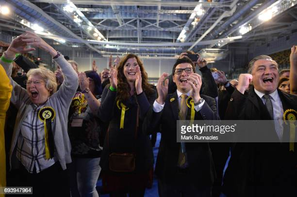 SNP supporters celebrate during the UK Parliamentary Elections at the Emirates Arena on June 9 2017 in Glasgow Scotland After a snap election was...