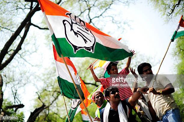 Supporters celebrate election results in front of the headquarters of the Congress Party on May 16 2009 in New Delhi India Senior BJP leader Arun...