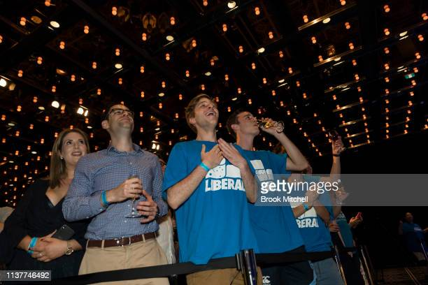 Supporters celebrate NSW Premiere Gladys Berejiklian's win on March 23 2019 in Sydney Australia The 2019 New South Wales state election is being held...