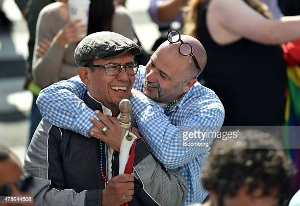 Supporters celebrate outside City Hall after the US Supreme Court samesex marriage ruling in San Francisco California US on Friday June 26 2015...
