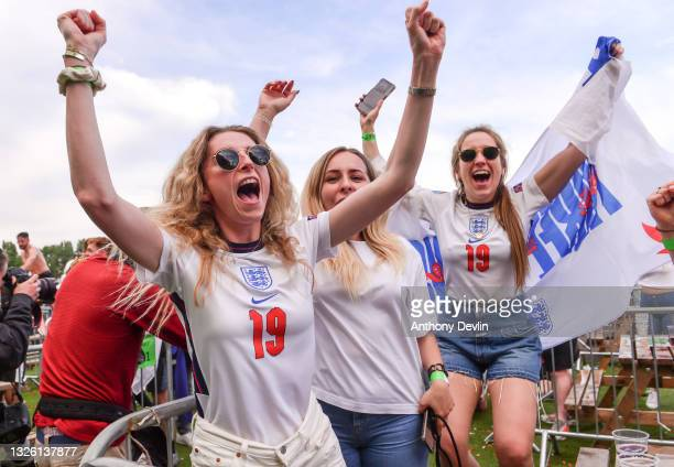 Supporters celebrate the second England goal at the 4TheFans Fan Park at Event City on June 29, 2021 in Manchester, United Kingdom on June 29, 2021...