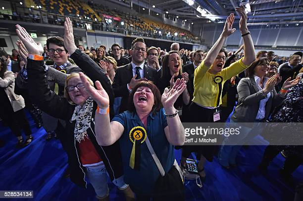 SNP supporters celebrate their successes in the Scottish Parliament elections at the Emirates Arena on May 6 2016 in GlasgowScotland The SNP...