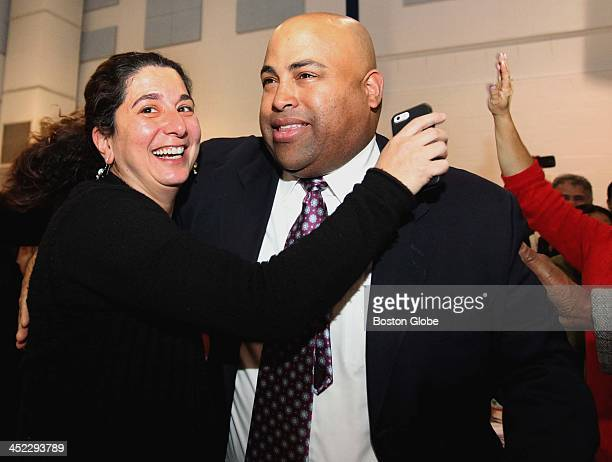 Supporters celebrated as City Councilor Daniel Rivera won by 81 votes during a manual recount of Lawrence's mayoral race at the South Lawrence East...