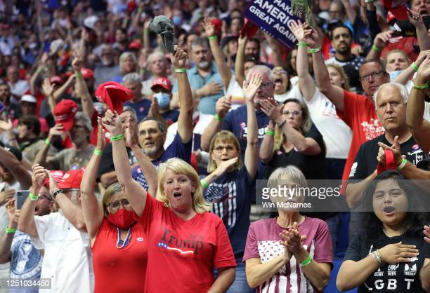 Supporters cheer after the National Anthem during a campaign rally for U.S. President Donald Trump at the BOK Center, June 20, 2020 in Tulsa,...