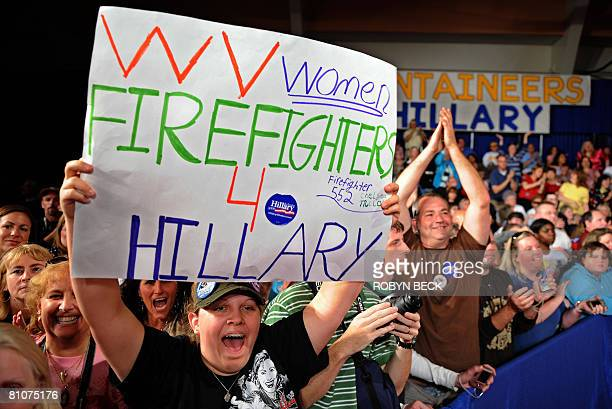 Supporters cheer as Democratic presidential hopeful New York Senator Hillary Rodham Clinton is announced as the projected winner, at her primary...