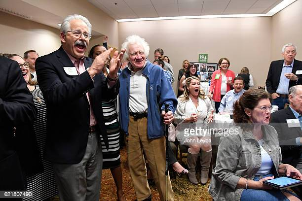 Supporters cheer as they find out that Prop 106 a measure has passed which would allow terminally ill patients to take lifeending doctorprescribed...