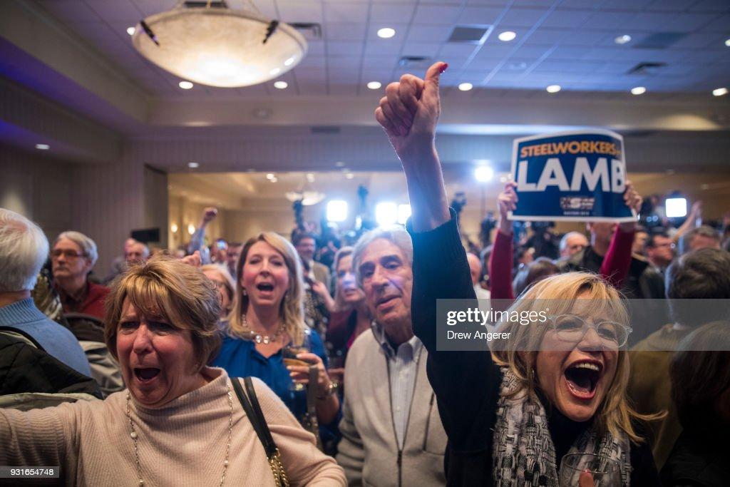 Supporters cheer as they watch election returns at an election night event for Conor Lamb, Democratic congressional candidate for Pennsylvania's 18th district, March 13, 2018 in Canonsburg, Pennsylvania. As of 10:00 PM, Lamb's race against Republican candidate Rick Saccone is still too close to call.