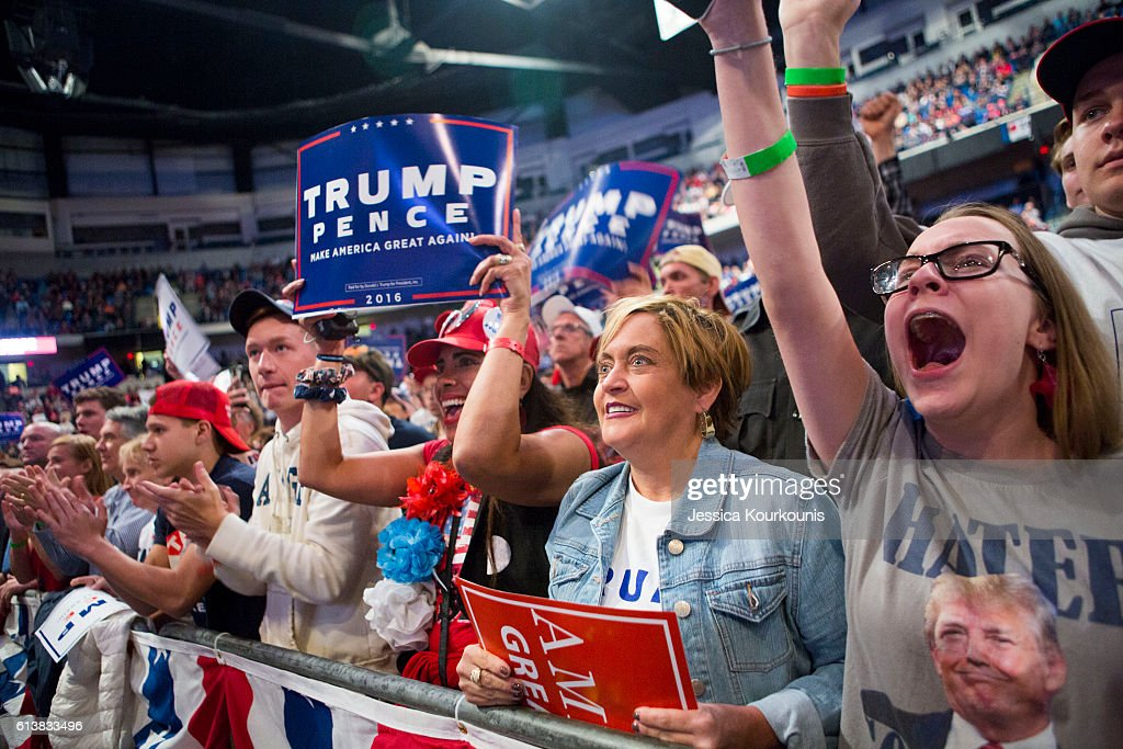 Supporters cheer at a campaign rally for Republican presidential nominee Donald Trump on October 10, 2016 in Wilkes-Barre, Pennsylvania. Trump continues his campaign following a town hall style debate against the Democratic nominee Hillary Clinton at Washington University in St. Louis last night.
