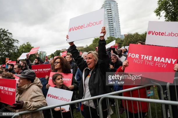 Supporters cheer during a Labour Party rally in Park Hill park on June 6 2017 in Croydon England Labour Leader Jeremy Corbyn appears via satellite to...