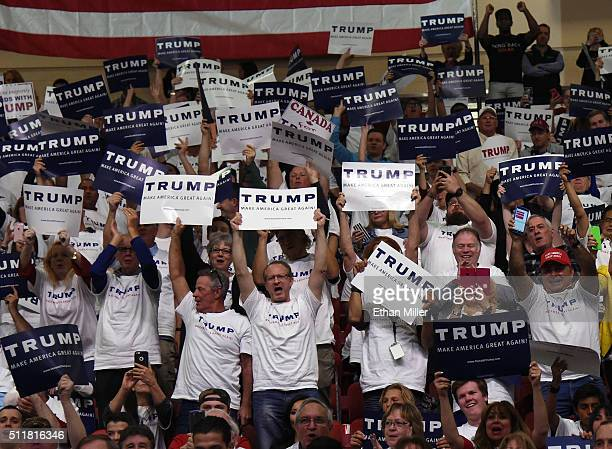 Supporters cheer during a rally for Republican presidential candidate Donald Trump at the South Point Hotel Casino on February 22 2016 in Las Vegas...