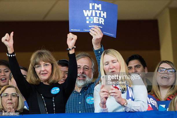 Supporters cheer for Democratic Presidential candiate and former Secretary of State Hillary Clinton during a campaign rally at Truckee Meadows...