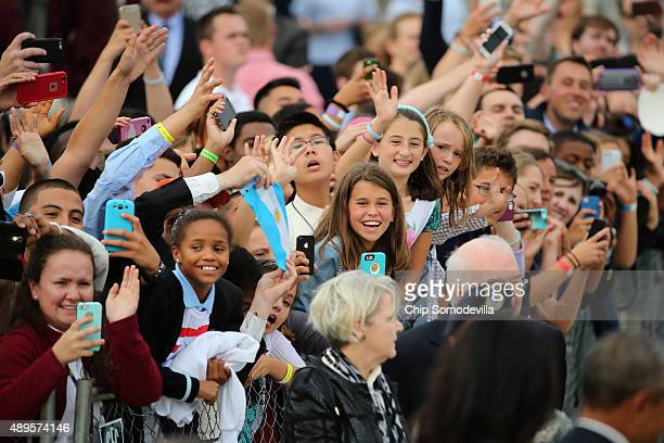 Supporters cheer for Pope Francis after he arrived from Cuba September 22 2015 at Joint Base Andrews Maryland Francis will be visiting Washington New...
