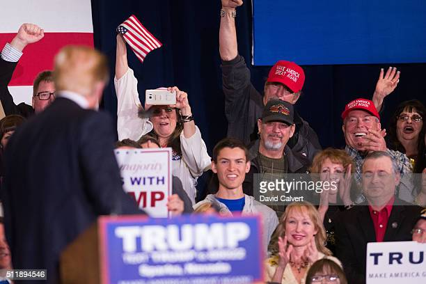 Supporters cheer for Republican presidential candidate Donald Trump duringa rally at the Nugget February 23 2016 in Sparks Nevada The Nevada GOP...