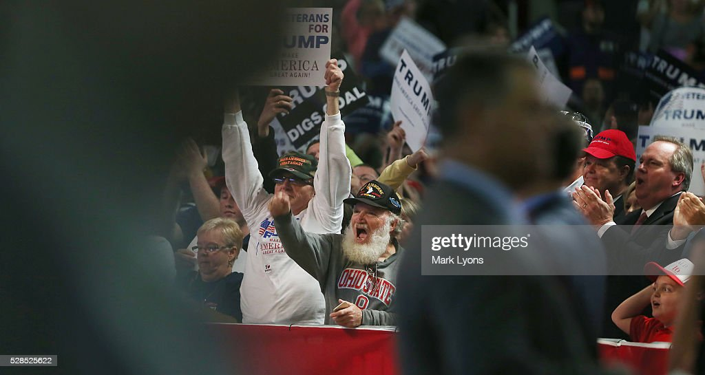 Supporters cheer for Republican Presidential candidate Donald Trump during his rally at the Charleston Civic Center on May 5, 2016 in Charleston, West Virginia. Trump became the Republican presumptive nominee following his landslide win in indiana on Tuesday.