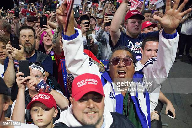 Supporters cheer for Republican presidential candidate Donald Trump at a campaign rally on August 30 2016 in Everett Washington Trump addressed...