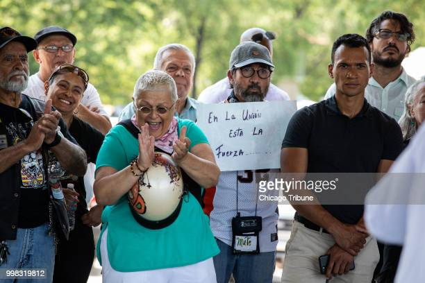 Supporters cheer on assault victim Mia Irizarry as she speaks at Humboldt Park Boat House in Chicago on Friday July 13 2018 She was assaulted by...