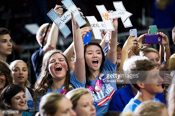 Supporters cheer on Democratic Presidential candidate Hillary Clinton at a campaign rally July 29 2016 in Philadelphia MA