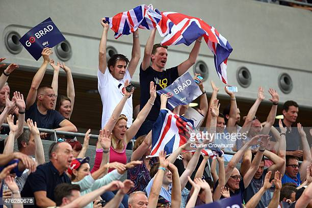 Supporters cheer on Sir Bradley Wiggins of Great Britain and Team Wiggins as he tries to break the UCI One Hour Record at Lee Valley Velopark...