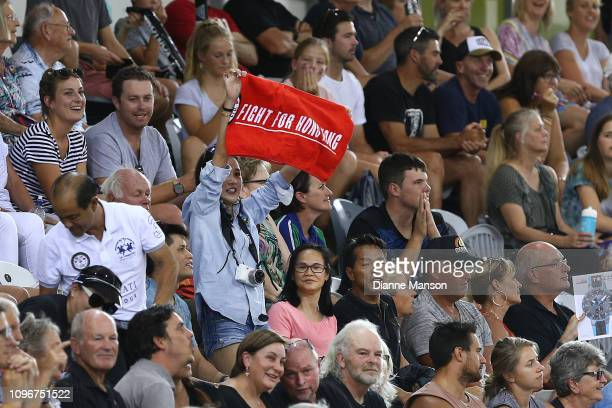 Supporters cheer on Wai Sze Lee of Hong Kong during the 2018 UCI Track World Cup on January 20 2019 in Cambridge New Zealand