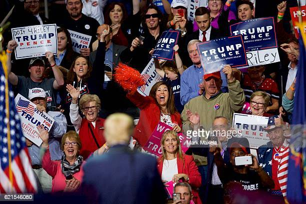 Supporters cheer Republican Presidential nominee Donald J. Trump during a rally at Giant Center November 4, 2016 in Hershey, Pennsylvania. Polls have...