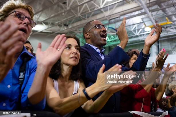 Supporters cheer while former President Barack Obama speaks during a campaign rally for Ohio Gubernatorial candidate Richard Cordray at CMSD East...