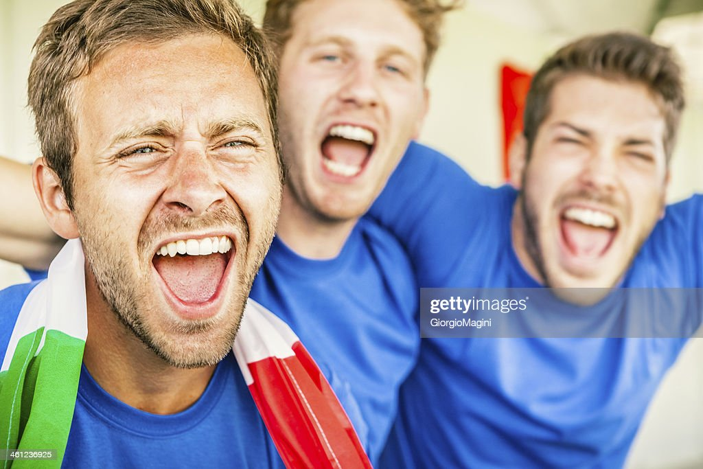 Supporters Cheering on Italy, Soccer Championship : Stock Photo