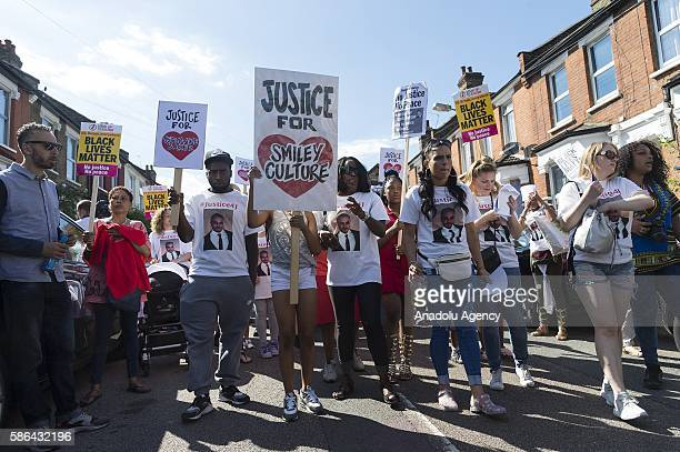 Supporters commemorate 4th August marking the 5th anniversary of the 2011 Tottenham riots, which followed on from the shooting of Mark Duggan, and...
